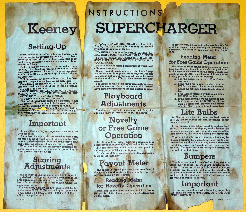 Internet Pinball Machine Database Keeney Supercharger