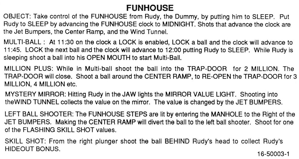 Funhouse Instruction card